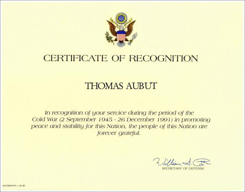 Cold War Certificate of Recognition